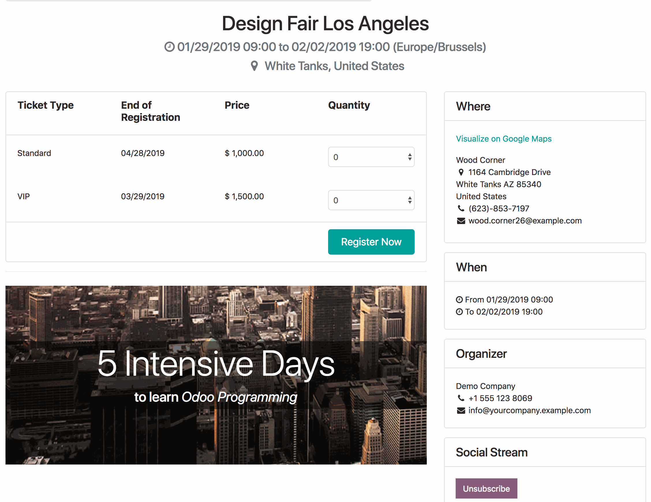 odoo events - Events APP