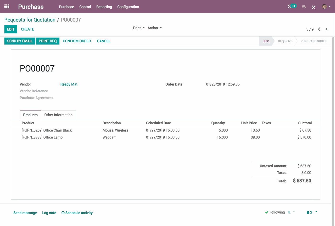 odoo purchase - Purchase APP